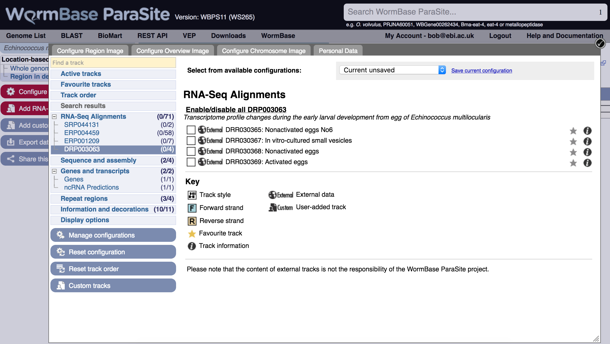 Genome browser menu, tracks for RNASeq study