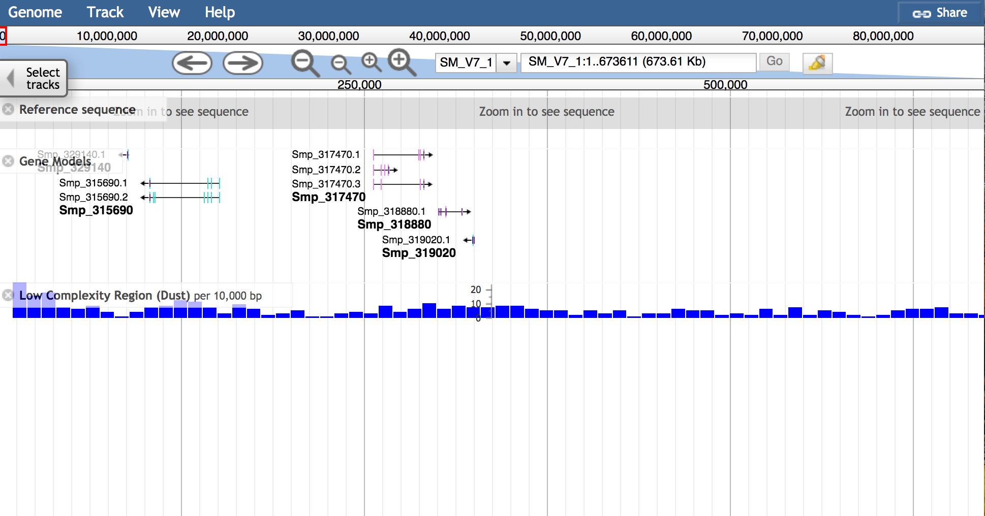 JBrowse genes and repeats zoomed out